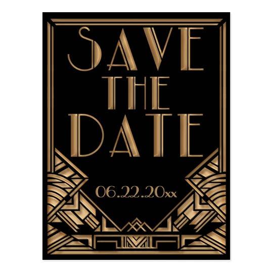 wedding save the date in einer kunst deko gatsby postkarten zazzle. Black Bedroom Furniture Sets. Home Design Ideas