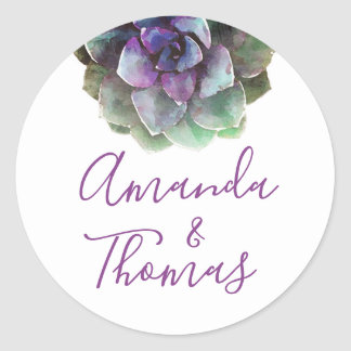 Wedding Siegel des Watercolorsucculents-| Runder Aufkleber