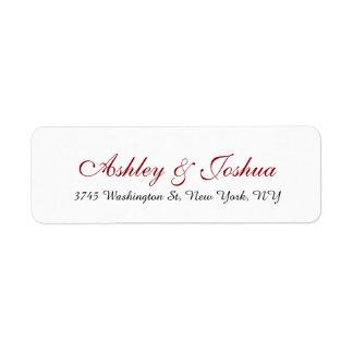Wedding stilvolle schicke Handschrifts-rotes Rücksendeetiketten