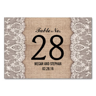 Wedding Tischnummerkarten der rustikalen