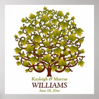 Wedding unterzeichnender Baum personalisiert Poster