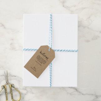 Wedding willkommener Geschenk-Umbau - Kraftpapier Geschenkanhänger