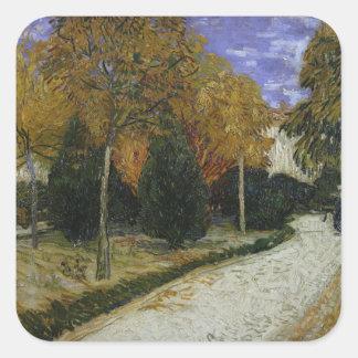 Weg Vincent van Goghs   im Park bei Arles, 1888 Quadratischer Aufkleber