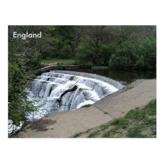 Wehr-Fluss Rye, Höchstbezirk, Derbyshire, England Postkarte