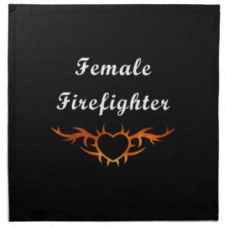 Weibliche Feuerwehrmann-Tätowierung Serviette