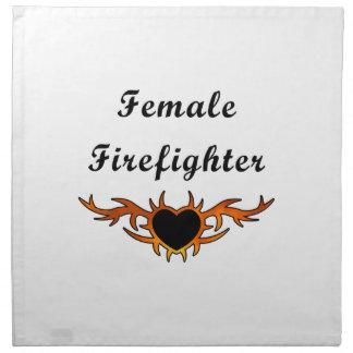 Weibliche Feuerwehrmann-Tätowierung Stoffserviette