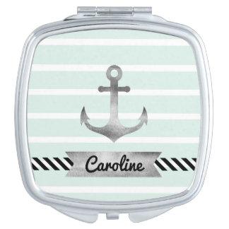 Weibliche Minze Stripes Aquarell-Anker-Gewohnheit Schminkspiegel