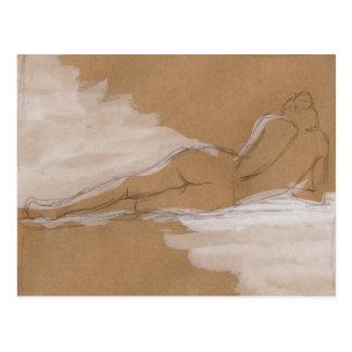 Weibliche nackte Zusammensetzung, die im Bett Postkarte