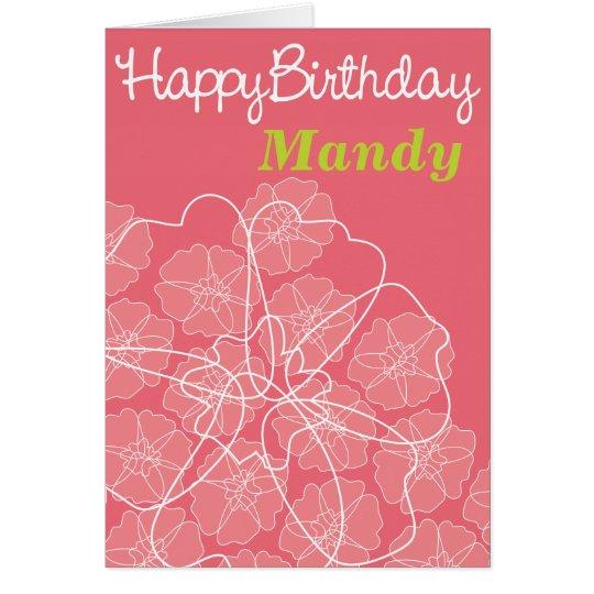 Weibliche rosa Geburtstagsgrußmit blumenkarte Karte