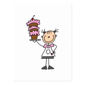 Weibliche Strichmännchen-Bäcker-T-Shirts und Postkarte