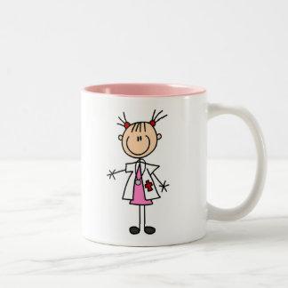 Weiblicher Doktor Strichmännchen Zweifarbige Tasse