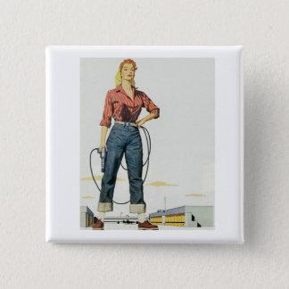 Weiblicher Ermächtigungsknopf Quadratischer Button 5,1 Cm