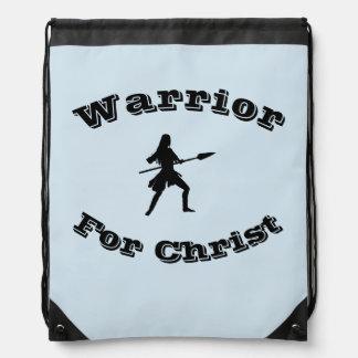 Weiblicher Krieger für Christusdrawstring-Rucksack Turnbeutel