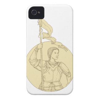 Weiblicher Ritter, der das Flaggen-Kreis-Zeichnen iPhone 4 Case-Mate Hüllen