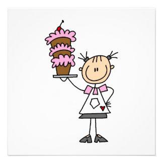 Weiblicher Strichmännchen-Bäcker Individuelle Ankündigungskarte