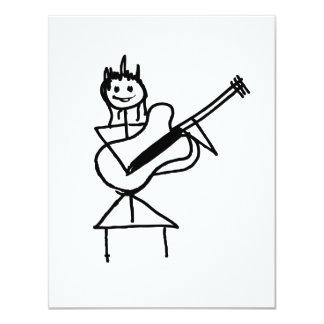 weibliches Gitarren-Strichmännchen Schwarzweiss 10,8 X 14 Cm Einladungskarte