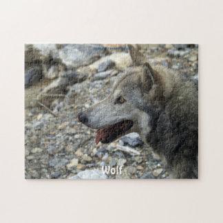 Weibliches grauer Wolf Tier-Anhänger Puzzlespiel