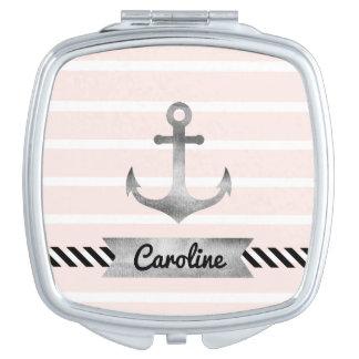 Weibliches Rosa Stripes Aquarell-Anker-Gewohnheit Taschenspiegel