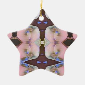Weich Rosa mit Brown-Singrün-Akzenten Keramik Stern-Ornament