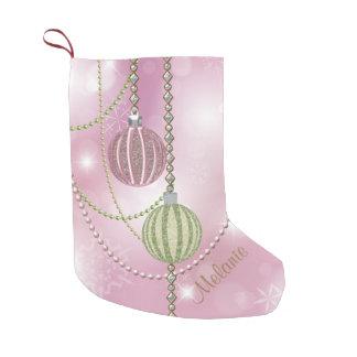 Weich rosa u. grüne kleine weihnachtsstrümpfe