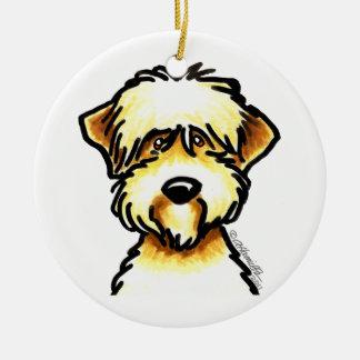 Weich überzogenes Wheaten Terrier-Gesicht Rundes Keramik Ornament