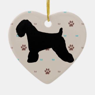 Weich überzogenes Wheaten Terrier Keramik Herz-Ornament