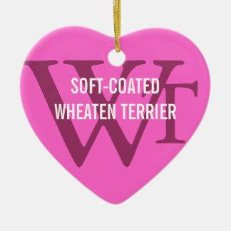 Weich-Überzogenes Wheaten Terrier-Monogramm Keramik Herz-Ornament