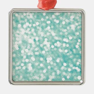 Weiche Aqua Bokeh Glitter-Glitzern Quadratisches Silberfarbenes Ornament