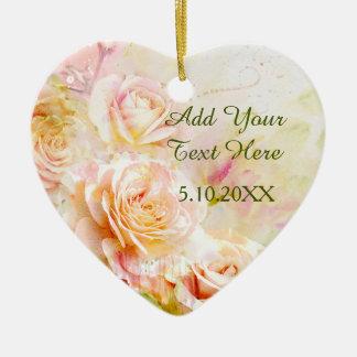 Weiche erröten die Blumen Watercolor-Rose Keramik Herz-Ornament