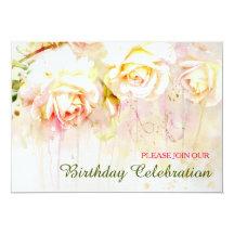 Weiche erröten Rosen-Blumengeburtstags-Party 12,7 X 17,8 Cm Einladungskarte