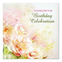 Weiche erröten Rosen-Blumengeburtstags-Party Quadratische 13,3 Cm Einladungskarte