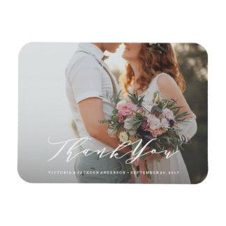 Weiche Kalligraphie-Hochzeit danken Ihnen Flexibler Magnet