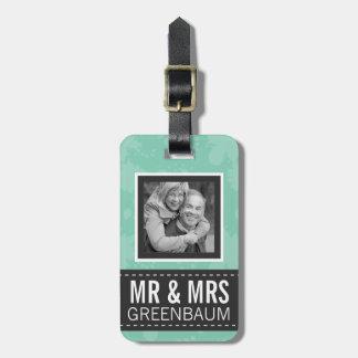Weiche Minze und grauer Herr und Frau Personalized Kofferanhänger