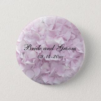 Weiche rosa Hydrangea-Hochzeit Runder Button 5,7 Cm