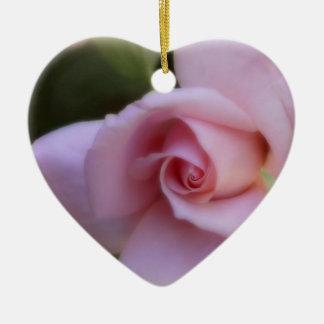 Weiche rosa Rose Keramik Herz-Ornament