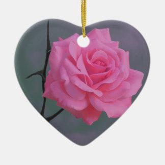 Weiche rosa Rosen-Blume Keramik Herz-Ornament