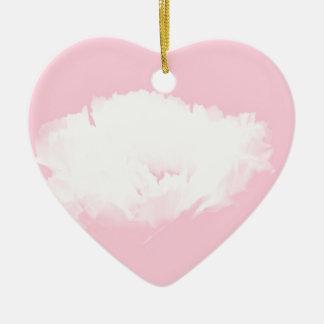 Weiche rosa weiße Pfingstrose - mit Blumen Keramik Herz-Ornament