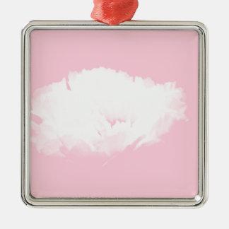 Weiche rosa weiße Pfingstrose - mit Blumen Quadratisches Silberfarbenes Ornament