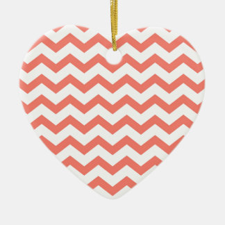 weiche rosa Zickzack Streifen Keramik Herz-Ornament