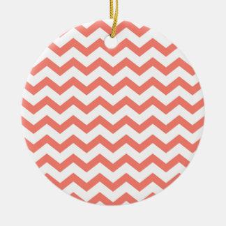 weiche rosa Zickzack Streifen Rundes Keramik Ornament