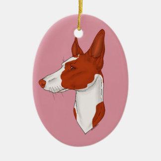 Weiche rosarote Ibizan Jagdhund-Verzierung Ovales Keramik Ornament