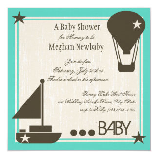 Weiche Segel-Babyparty Quadratische 13,3 Cm Einladungskarte