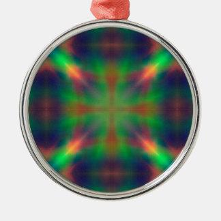 Weicher Regenbogen beleuchtet X geformten Rundes Silberfarbenes Ornament