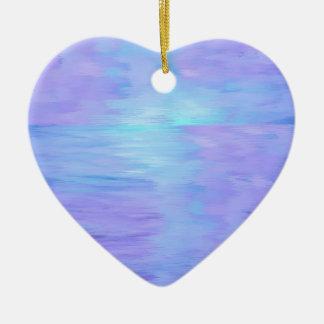 Weicher Watercolor lila und Türkis Keramik Herz-Ornament