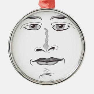 Weiches Gesicht Rundes Silberfarbenes Ornament