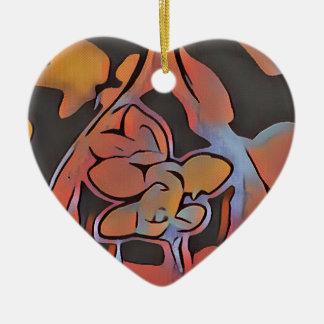 Weiches künstlerisches Blumenmuster Keramik Herz-Ornament