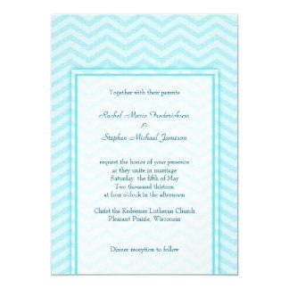Weiches Zickzack Aqua-blaues 12,7 X 17,8 Cm Einladungskarte