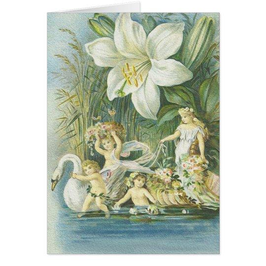 Weichheit - Feen, Schwan und Blume Grußkarte
