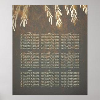 Weide-Baum-Goldhochzeits-Sitzplatz-Diagramm Poster