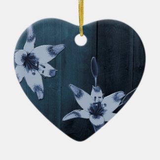 Weide-Blau-Blume Keramik Herz-Ornament
